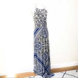 London Times gold and blue Keyhole maxi dress